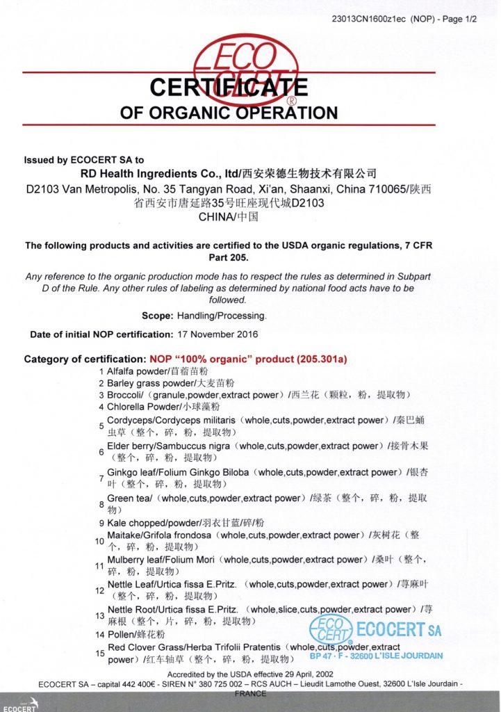 USDA Organic Certificate